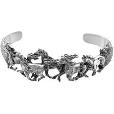 Five Horse Sterling Silver Cuff Bracelet | Kabana Jewelry | Kbr385