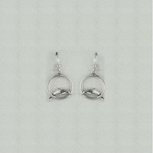 Dolphin Circle Sterling Silver Wire Earrings | Kabana Jewelry | Ke090