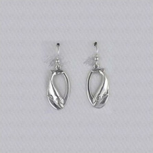Dolphin Oval Sterling Silver Wire Earrings | Kabana Jewelry | Ke381