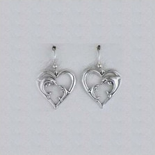 Dolphin Heart Sterling Silver Earrings | Kabana Jewelry | Ke382