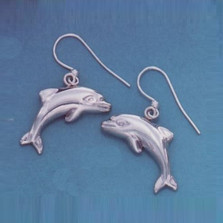 Dolphin Jumping Sterling Silver Wire Earrings | Kabana Jewelry | Ke399