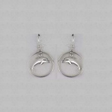 Dolphin Floating Sterling Silver Wire Earrings | Kabana Jewelry | Ke403