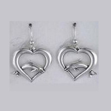 Dolphin on Heart Sterling Silver Wire Earrings | Kabana Jewelry | Ke423