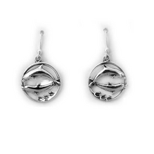 Double Dolphin Circle Sterling Silver Wire Earrings | Kabana Jewelry | Ke581