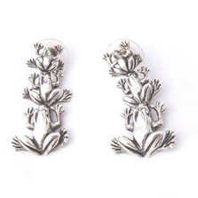 Frog Sterling Silver Dangle Earrings | Kabana Jewelry | Ke662