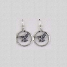 Eagle Circle Sterling Silver Wire Earrings | Kabana Jewelry | Ke680