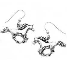 Cantering Horse Sterling Silver Earrings | Kabana Jewelry | Ke993