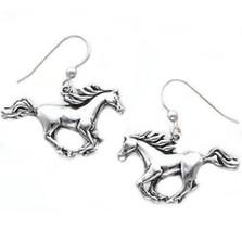 Cantering Horse Sterling Silver Earrings | Kabana Jewelry | Ke993
