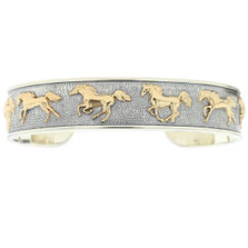 Running Horse 14K Gold Sterling Silver Cuff Bracelet | Kabana Jewelry | Kgsbr110