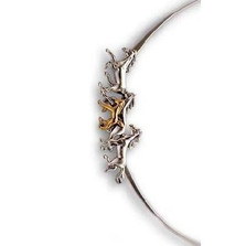 Thoroughbred Horses 14K Gold & Silver Collar Necklace | Kabana Jewelry | Kgsnk085