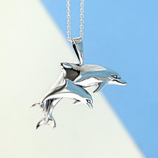 Dolphin Pair Sterling Silver Pendant Necklace | Kabana Jewelry | KP118