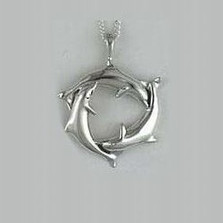 Dolphin Trio Sterling Silver Pendant Necklace| Kabana Jewelry | KP328 -2