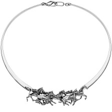 Arabian Horses Sterling Silver Collar Necklace | Kabana Jewelry | Kp456
