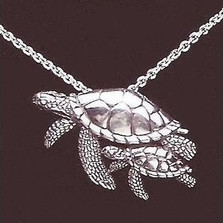 Turtle Mother and Baby Sterling Silver Necklace | Kabana Jewelry | KP566 -2