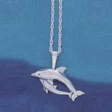 Dolphin and Baby Pendant Sterling Silver Necklace | Kabana Jewelry | Kp674