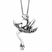 Frog on Branch Sterling Silver Pendant Necklace | Kabana Jewelry | Kp832 -2