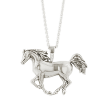 Puffed Horse Sterling Silver Pendant Necklace   Kabana Jewelry   kp908