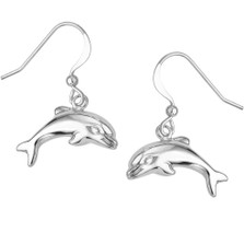Puffed Dolphin Sterling Silver Wire Earrings | Kabana Jewelry | Kse050