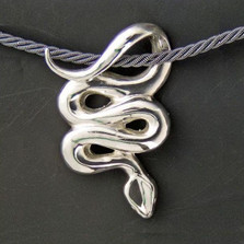 Snake Sterling Silver Pendant Necklace | Anisa Stewart Jewelry | asdw1002