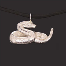 Rattlesnake Sterling Silver Pendant Necklace | Anisa Stewart Jewelry | asJW1019