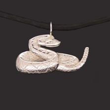 Rattlesnake Sterling Silver Pendant Necklace   Anisa Stewart Jewelry   asJW1019