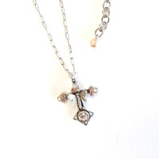 Dragonfly Fiori di Bosco Rose Cross Necklace | La Contessa Jewelry | LCNK8735RO