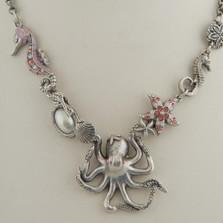 Octopus Sea Horse Rose Chunky Necklace | La Contessa Jewelry | LCNK8760RO