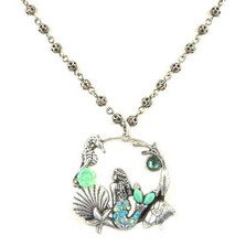 "Mermaid and Sea Life""Il Mare"" Hoop Necklace 
