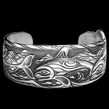 Whale Solitude Sterling Silver Cuff Bracelet |  Metal Arts Group Jewelry | MAG11203
