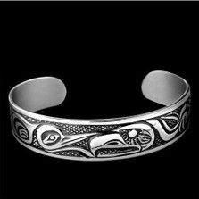 "Eagle Sterling Silver Cuff Bracelet ""Gentle Strength"" 