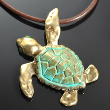 Loggerhead Sea Turtle Bronze Large Necklace | Anisa Stewart Jewelry | ASJbrs1010