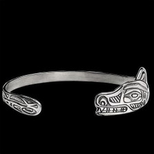 Wolf Tribal Sterling Silver Wrap Bracelet |  Metal Arts Group Jewelry | MAG12813