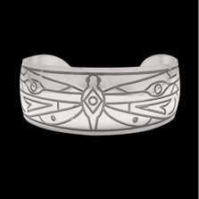 Dragonfly Tribal Design Silver Cuff Bracelet |  Metal Arts Group Jewelry | MAG17112