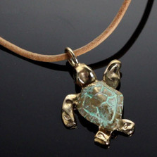 Baby Loggerhead Sea Turtle Bronze Necklace | Anisa Stewart Jewelry | ASJbrs1014