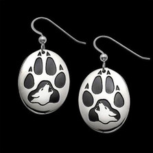 Wolf Print Sterling Silver Earrings |  Metal Arts Group Jewelry | MAG20201