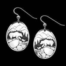 Fishing Bears Sterling Silver Earrings |  Metal Arts Group Jewelry | MAG20202