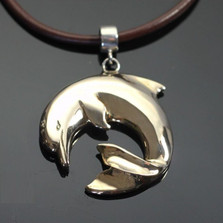 Curved Dolphin Bronze Pendant Necklace | Anisa Stewart Jewelry | ASJbrs1018