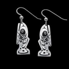 Salmon Sterling Silver Tribal Earrings    Metal Arts Group Jewelry   MAG21402