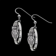 Owl Sterling Silver Hoop Earrings |  Metal Arts Group Jewelry | MAG22826