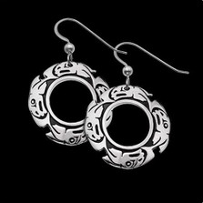 Salmon Tribal Sterling Silver Earrings    Metal Arts Group Jewelry   MAG22980-S