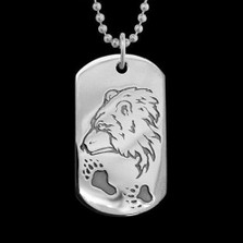 Guardian Bear Dog Tag Necklace |  Metal Arts Group Jewelry | MAG40918