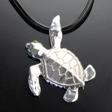 Loggerhead Turtle Silver Pendant Necklace | Anisa Stewart Jewelry | ASJs1010