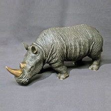 Rhino Bronze Sculpture White | Barry Stein | BBSRHI1-W