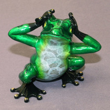 "Frog Bronze Sculpture ""See No Evil"" | Barry Stein | BBSSEE1-CG"