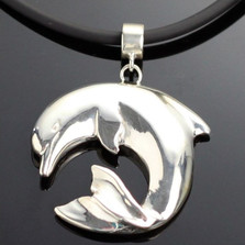 Curved Dolphin Silver Pendant Necklace | Anisa Stewart Jewelry | ASJs1018