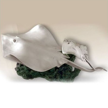 Limited Edition Silver Stingrays Sculpture | 2515 | D'Argenta
