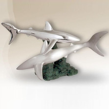 Pair of Sharks Silver Plated Sculpture | 2516 | D'Argenta