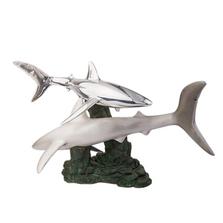 Shark Pair Silver Plated Sculpture | 2516 | D'Argenta