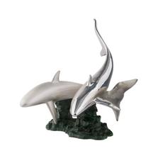 Shark Pair Silver Plated Sculpture | 2526 | D'Argenta