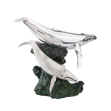 Humpback Whales Mom and Calf Silver Plated Sculpture | 2530 | D'Argenta